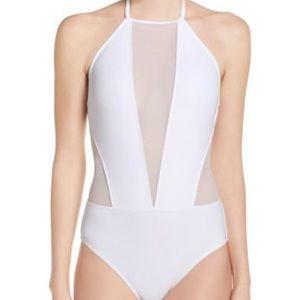 New Ted Baker White Mesh Panel Swimsuit 1 S